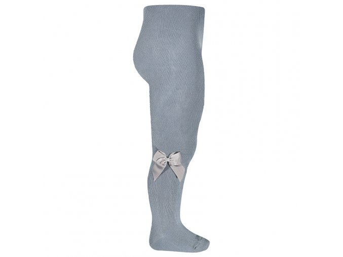tights with side grossgrain bow steel