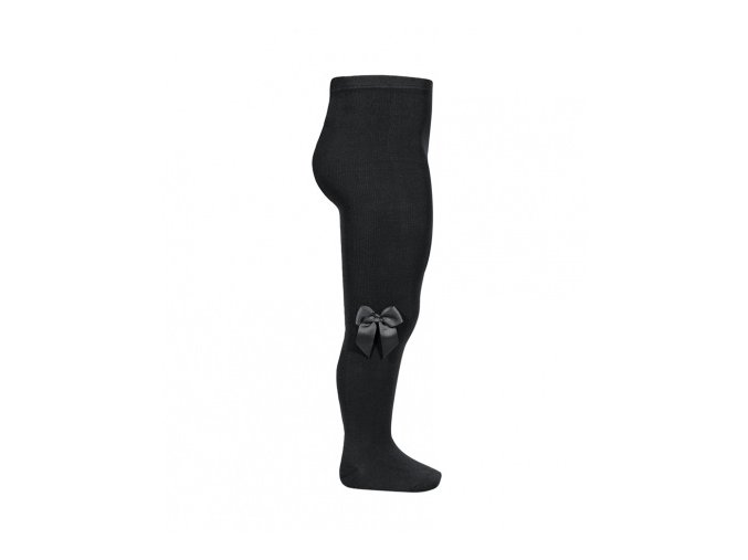 tights with side grossgrain bow black