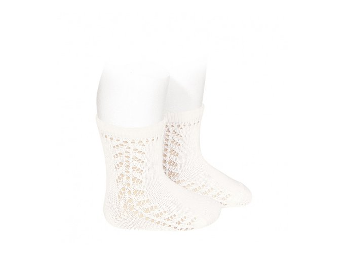 baby side openwork short socks cream