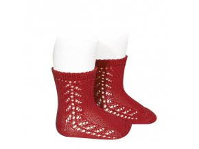 baby side openwork short socks red