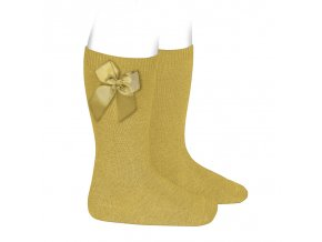 knee high socks with side bow mustard