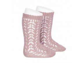 perle openwork knee high socks pale pink