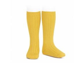 wide rib knee high socks yellow