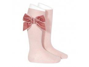 side velvet bow knee high socks pale pink