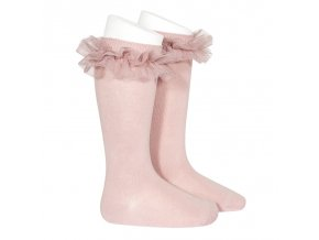 tulle ruffle knee high socks pale pink