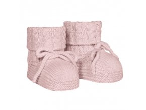 baby aran stitch booties pale pink