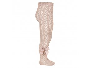 perle openwork tights with bow old rose