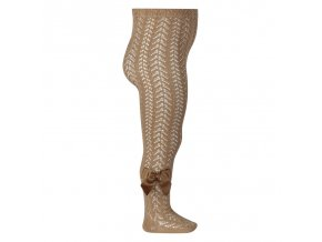perle openwork tights with bow camel