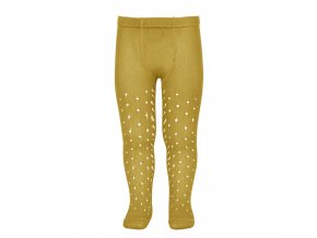 perle openwork tights lateral spike mustard