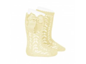 perle openwork knee high socks with bow butter