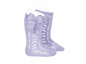 perle openwork knee high socks with bow mauve
