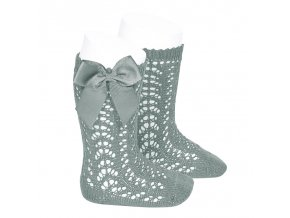 perle openwork knee high socks with bow dry green