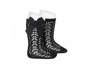 perle openwork knee high socks with bow in black