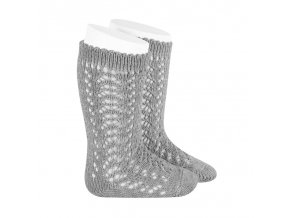 perle openwork knee high socks aluminium