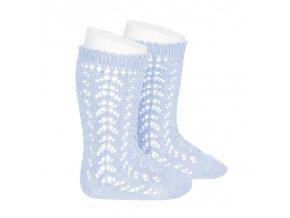perle openwork knee high socks baby blue