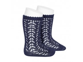 perle openwork knee high socks navy blue