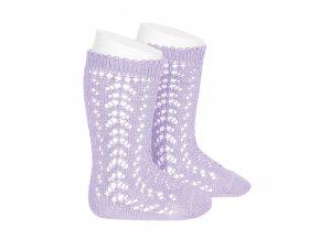 perle openwork knee high socks mauve