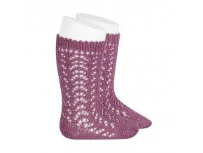perle openwork knee high socks cassis