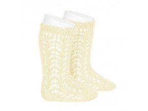 perle openwork knee high socks butter