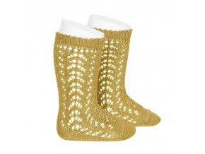 perle openwork knee high socks mustard