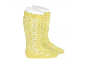 perle openwork knee high socks limoncello
