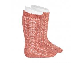 perle openwork knee high socks peony