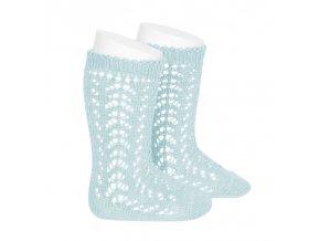 perle openwork knee high socks aquamarine