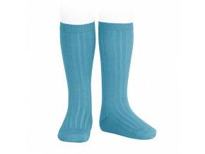 wide rib basic knee high socks blue turquoise 93