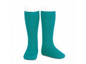 wide rib basic knee high socks capri blue 93