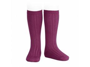 wide rib basic knee high socks cardinal 93