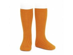 wide ribbed cotton knee high socks calendula