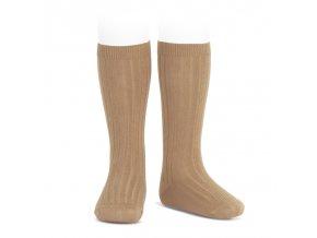 wide rib knee high socks camel