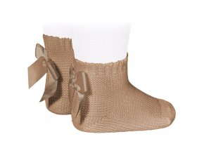garter stitch short socks with bow camel