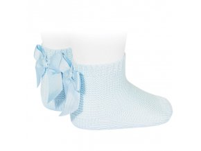 garter stitch short socks with bow baby blue