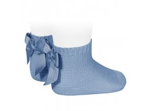 garter stitch short socks with bow bluish