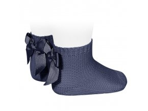 garter stitch short socks with bow navy blue