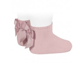 garter stitch short socks with bow pale pink