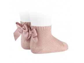 garter stitch short socks with bow old rose