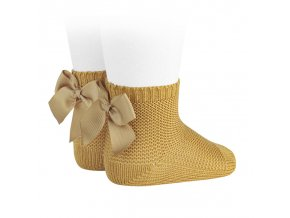 garter stitch short socks with bow mustard