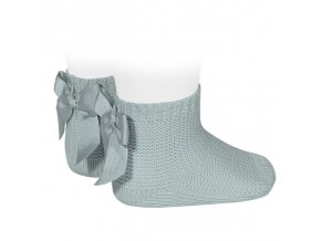 garter stitch short socks with bow dry green