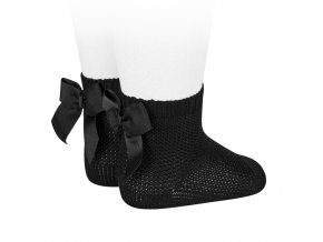 garter stitch short socks with bow black