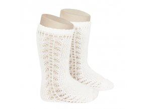 side openwork knee high warm cotton socks cream