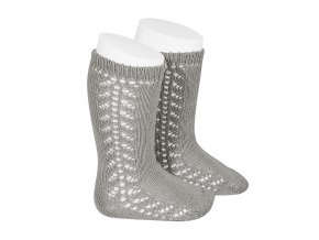 side openwork knee high warm cotton socks aluminium