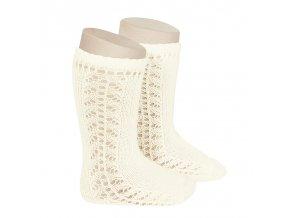 side openwork knee high warm cotton socks beige