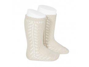 side openwork knee high warm cotton socks linen