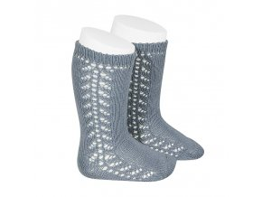 side openwork knee high warm cotton socks steel