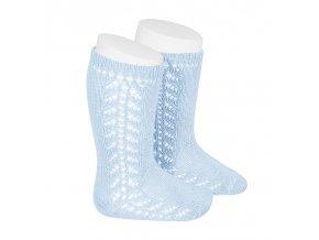 side openwork knee high warm cotton socks baby blue