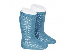 side openwork knee high warm cotton socks sapphire