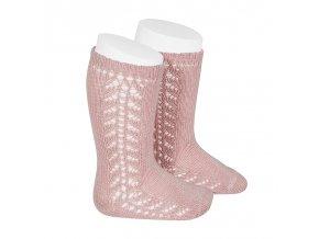 side openwork knee high warm cotton socks pale pink
