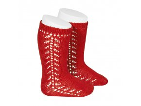 side openwork knee high warm cotton socks red
